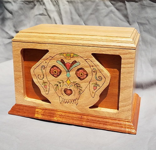 Cremation Urn, Day of the Dead Dog, Oak & Mahogany