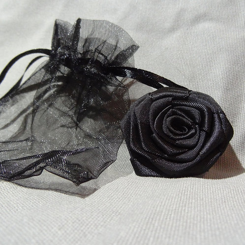 Black Rose Mourning Brooch Pin