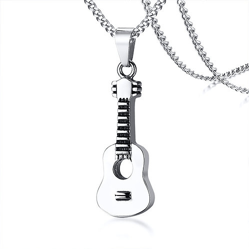 Guitar Shaped Urn Necklace Stainless Steel Cremation Pendant