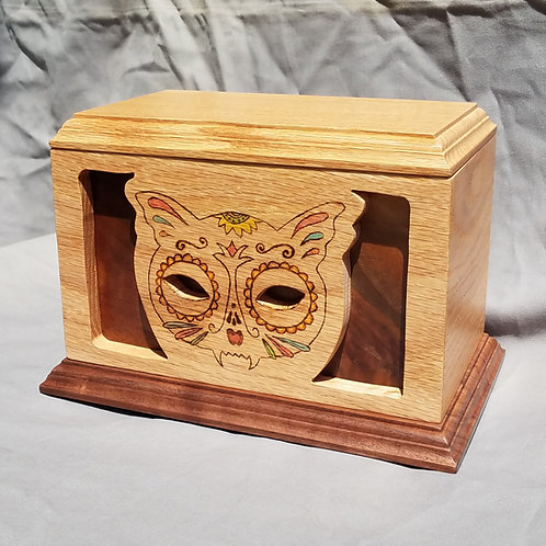 Cremation Urn, Day of the Dead Cat, Oak & Walnut