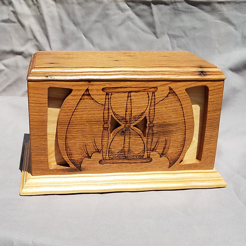 Cremation Urn, Tempus Fugit Winged Hourglass, Wormy Chestnut and Cypress