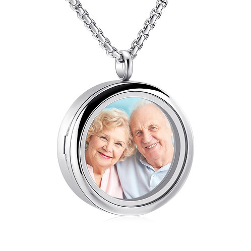 Victorian Style Stainless Steel Glass Fob and Cremation Urn Pendant Photo Locket