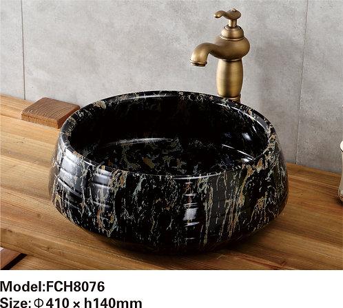 Керамическая накладная раковина с текстурой камня  Naturflair FCH8076