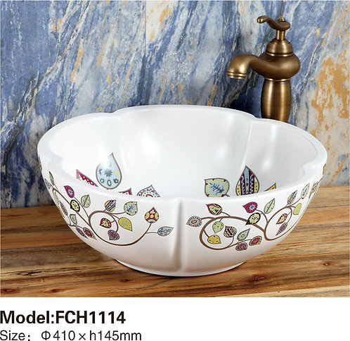 Керамическая накладная раковина Naturflair FCH1114