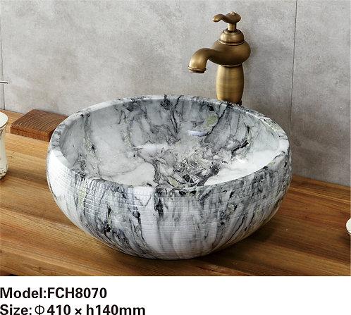 Керамическая накладная раковина с текстурой камня  Naturflair FCH8070