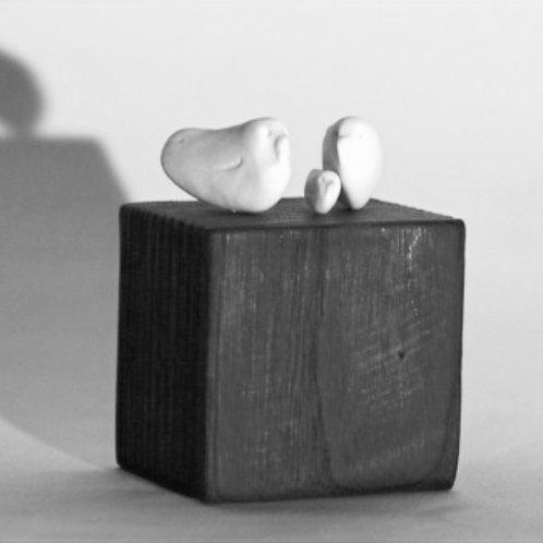 """Sculpture porcelaine """"Nous Trois"""""""