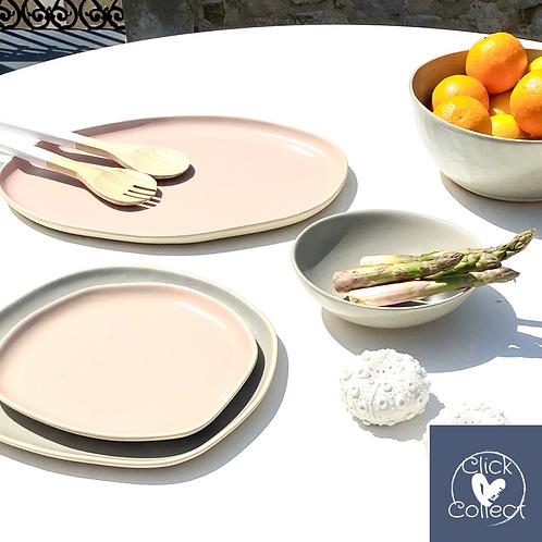 Assiette à diner rose Dassie artisan
