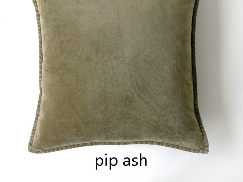 Coussin Pip en velours stonewashed ASH