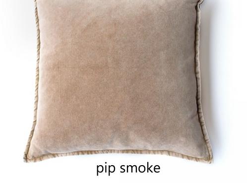 Coussin Pip en velours stonewashed Smoke