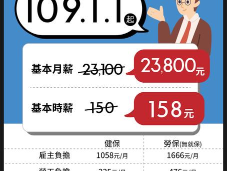109年1月1日起調整基本工資