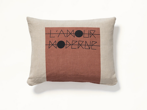 Coussin Amour moderne Teck