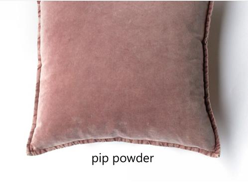 Coussin Pip en velours stonewashed Powder