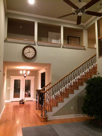 Freshly painted great room with high ceilings