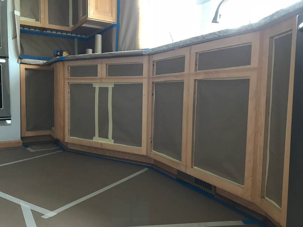 Masking cabinet openings for spraying