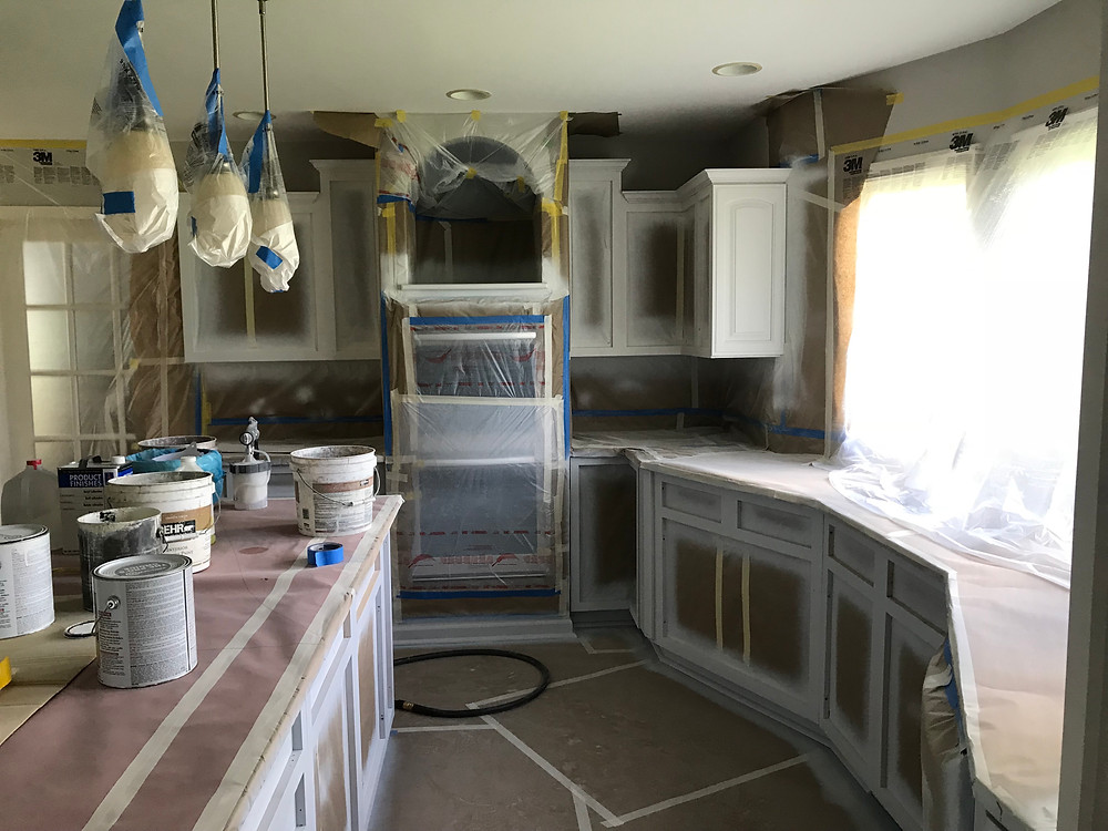 Priming kitchen cabinets