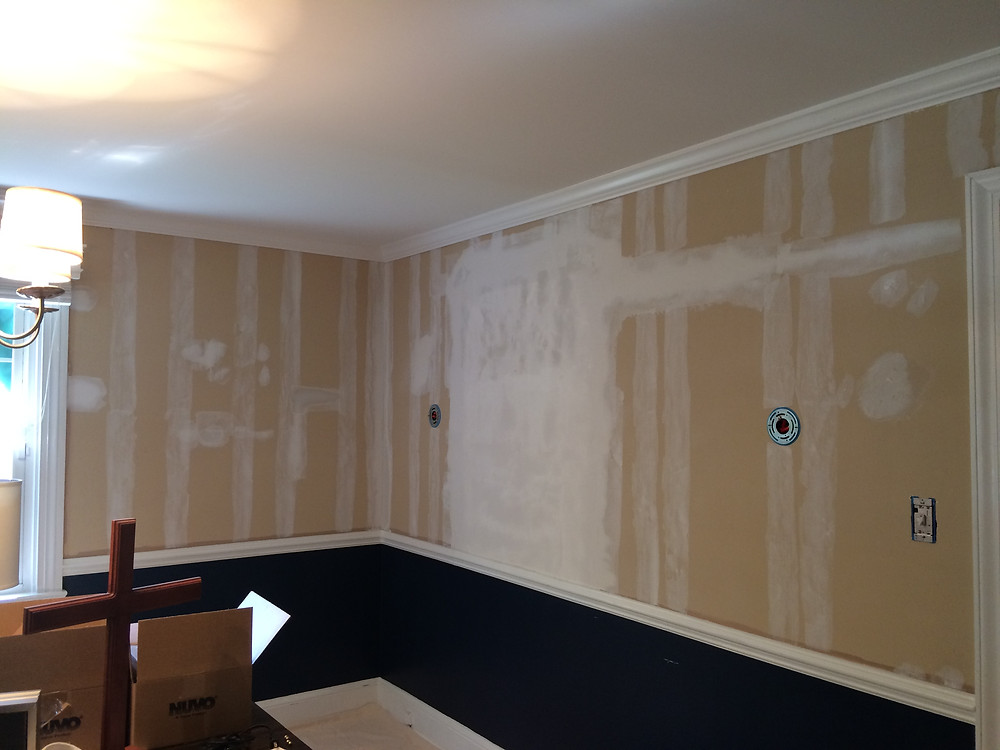 Underlying repair work after wallpaper removal