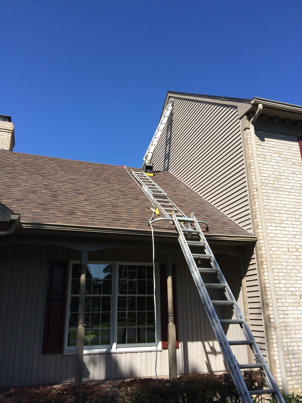 Complete roof setup for painting fascia