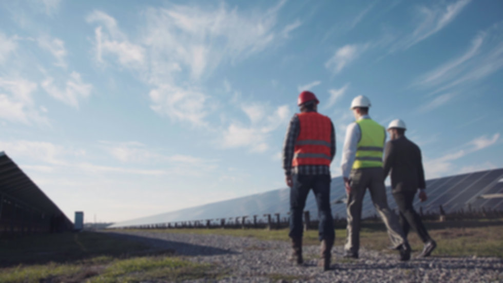 Technician walks with workman and invest
