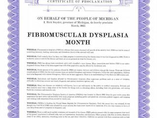March 2015 - Fibromuscular Dysplasia Month in Michigan, USA.