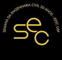 Logo da Semana de engenharia civil da eesc usp amarelo sobre um fundo circular preto