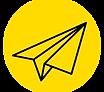 Avião de papel preto sob o fundo amarelo redondo