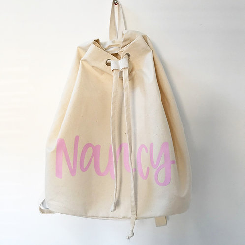 Natural canvas rucksack