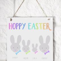 Hoppy Easter Family wood sign