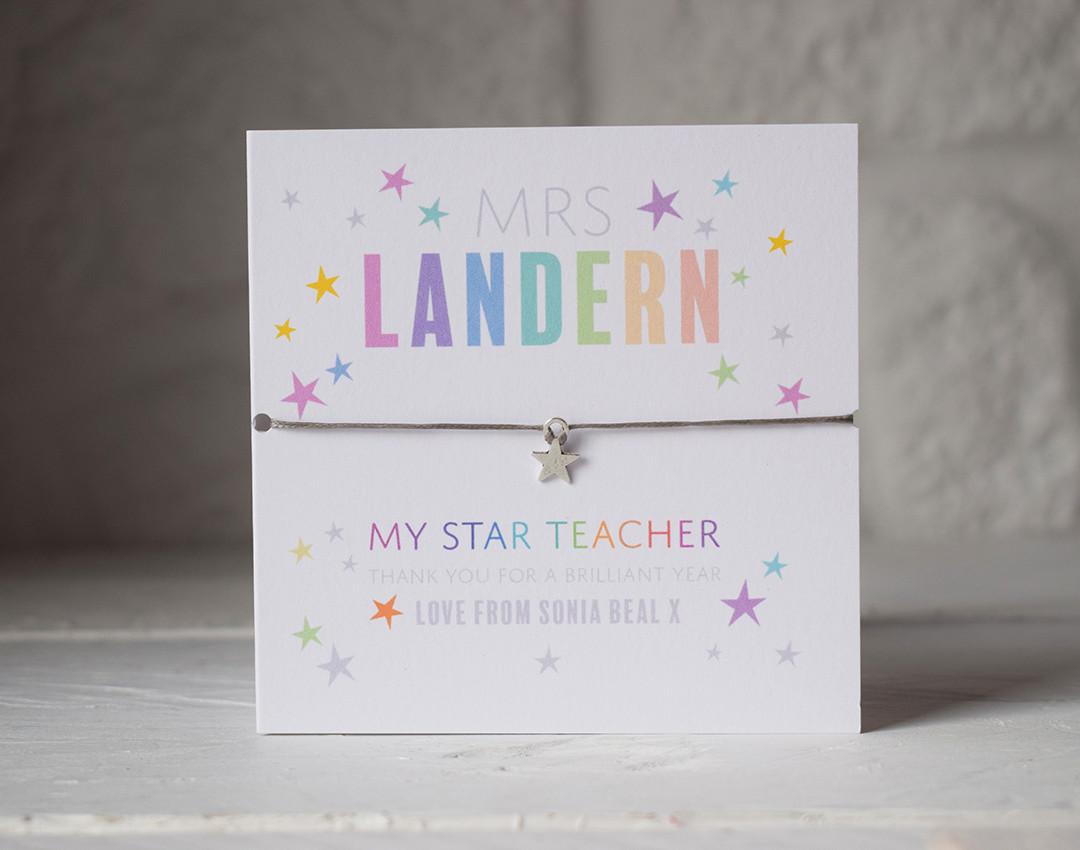 Star Teacher star bracelet and card