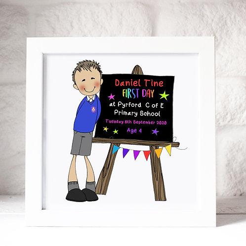 Personalised first day of school blackboard frame