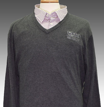 Men's Grey Long Sleeve V-Neck Sweater