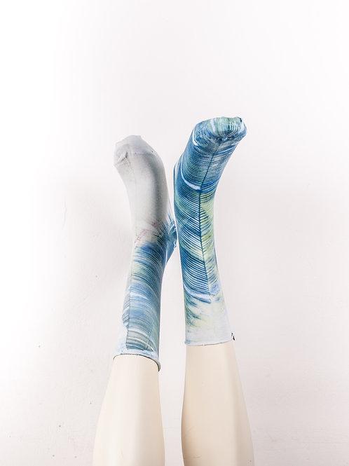 Socks without cuffs > Blue - White -Yellow