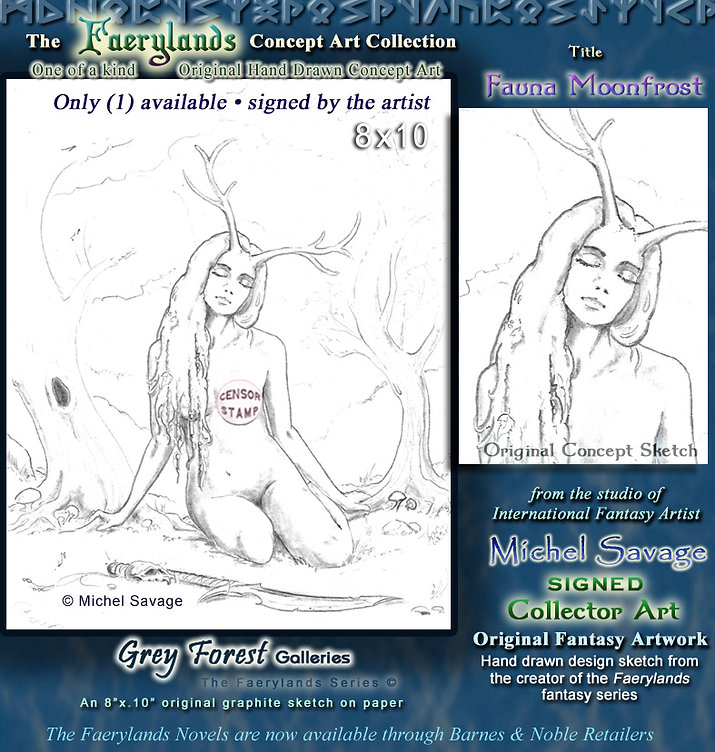 Fauna Moonfrost Faerylands erotic original sketch artwork