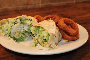 Chicken Wrap & Onion Rings