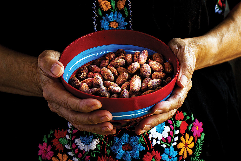 Manos de mujer sosteniendo un tazón con cacao