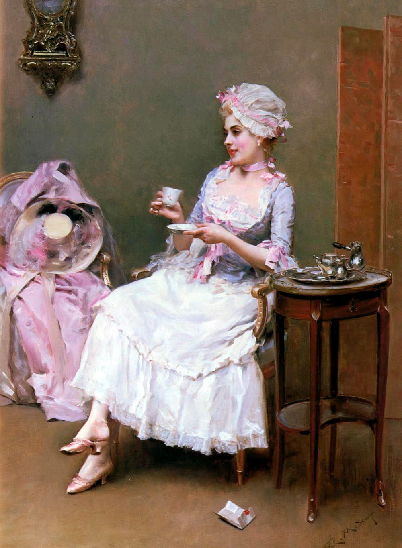 Mujer tomando una taza de chocolate
