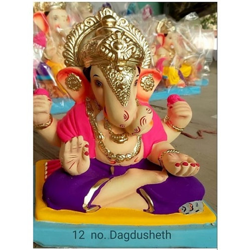 Dagadusheth Eco Friendly Ganesha - 15/16 Inch (Shadu Mitti)