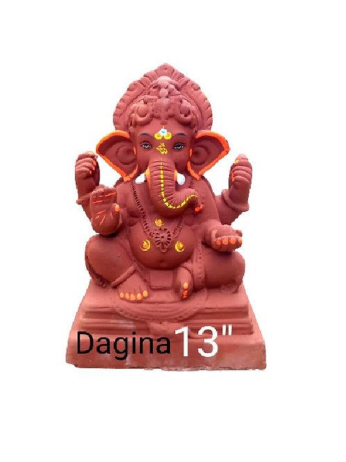 16 no Dagina- Laal Mati Eco Friendly Ganesha - 12/13 Inch (Shadu Mit