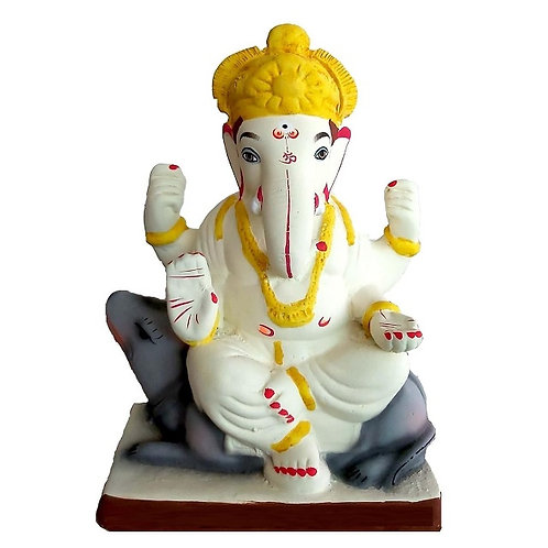Mushak Eco Friendly Ganesha - 10 Inch MULTANI Finish (Shadu Mitti)