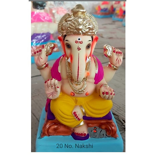 Nakshi Eco Friendly Ganesha - 10 Inch (Shadu Mitti)