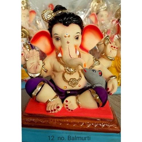Balmurti Eco Friendly Ganesha - 15/16 Inch (Shadu Mitti)