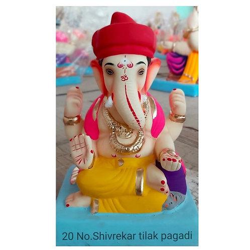 Shivrekar Tilak Pagadi Eco Friendly Ganesha - 10 Inch (Shadu Mitti)