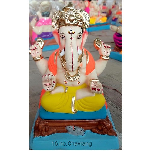 Padmasan Chourang Eco Friendly Ganesha - 12/13 Inch (Shadu Mitti)