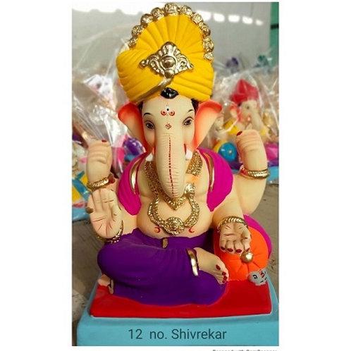 Shivrekar Feta Eco Friendly Ganesha - 15/16 Inch (Shadu Mitti)