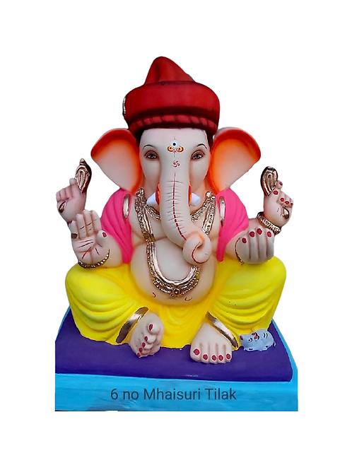 06 No Mhaisuri Tilak Pagadi Eco Friendly Ganesha - 19 Inch (Shadu Mitti)