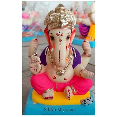 Mhaisuri Mukut Eco Friendly Ganesha - 10 Inch (Shadu Mitti)