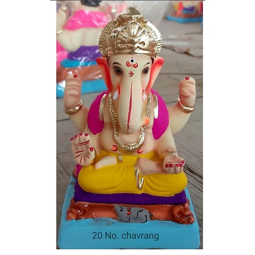 Padmasan Chourang Eco Friendly Ganesha - 10 Inch (Shadu Mitti)