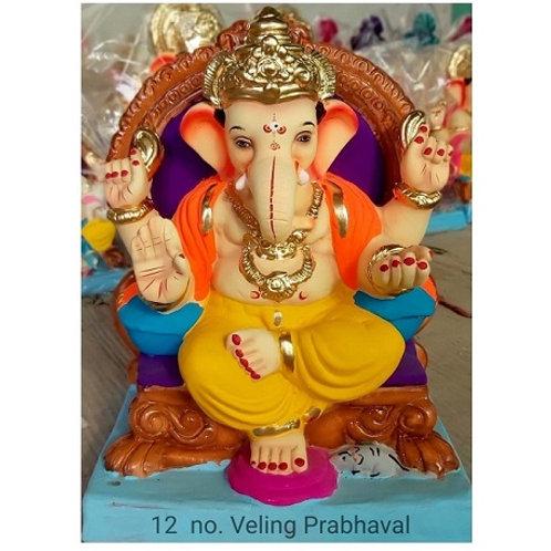 Veling Prabaval  Eco Friendly Ganesha - 15/16 Inch (Shadu Mitti)