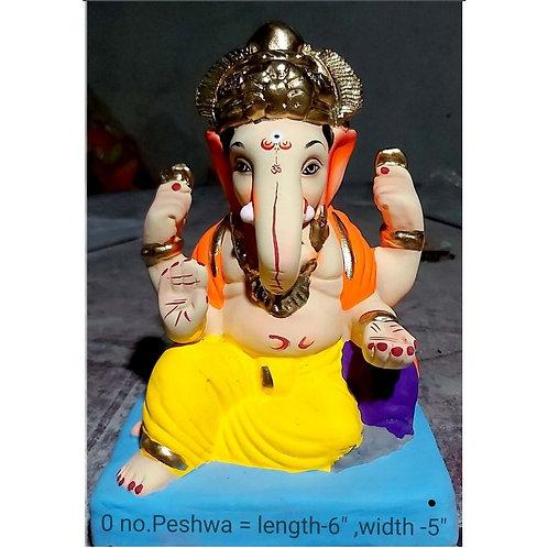 Peshwa Eco Friendly Ganesha -9 Inch (Shadu Mitti)
