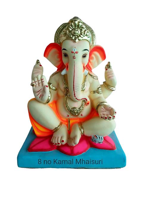08 no Kamal Ganesha Eco Friendly Ganesha - 18 Inch (Shadu Mitti)