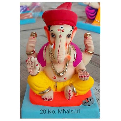 Mhaisuri Tilak Pagadi Eco Friendly Ganesha - 10 Inch (Shadu Mitti)